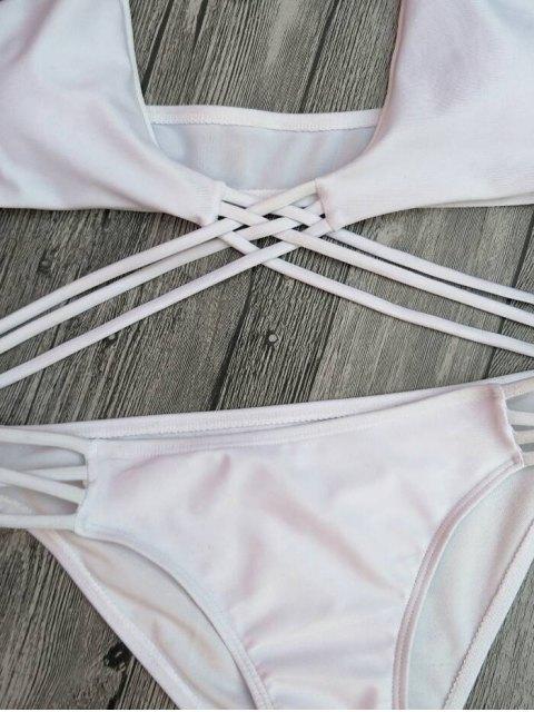 ladies Strappy Cutout Lace-Up Bikini Set - WHITE L Mobile