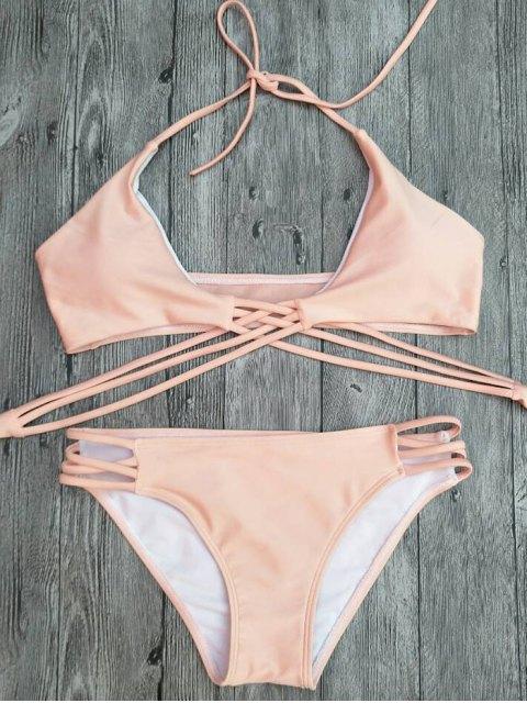online Strappy Cutout Lace-Up Bikini Set - PINK L Mobile