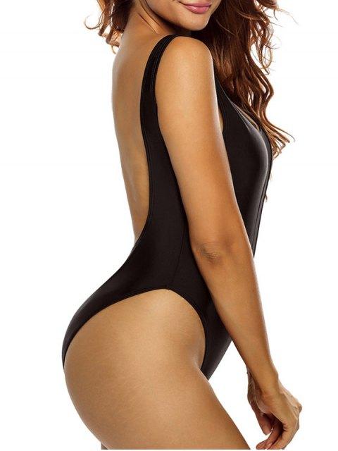 chic High Cut See Through One Piece Swimmwear - BLACK M Mobile