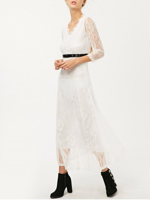 online V Neck Lace Prom Maxi Dress - WHITE M Mobile