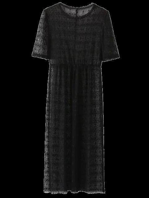 unique Lace Sheer Midi Dress - BLACK L Mobile