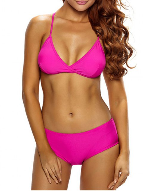 shops Casual Strappy Bikini Set - ROSE RED L Mobile
