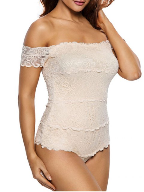 buy Lace Off The Shoulder Bodysuit - OFF-WHITE M Mobile