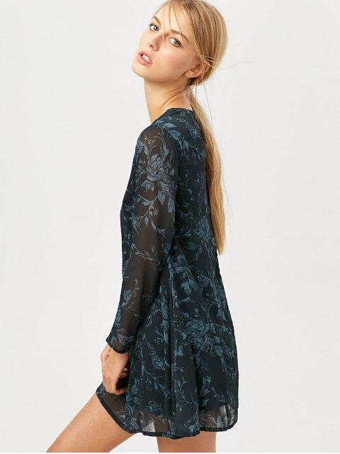outfit Long Sleeve Floral Jacquard Dress - BLACK XS Mobile