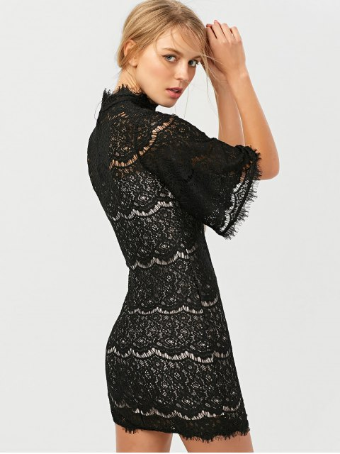 lady Flare Sleeve Hollow Out Lace Mini Dress - BLACK S Mobile