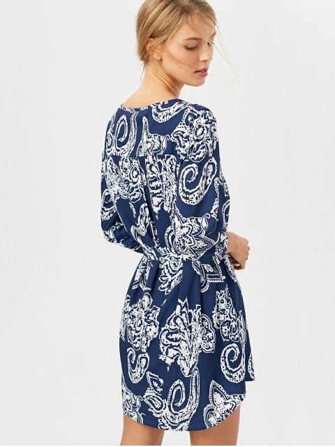 latest Vintage Printed Tunic Shirt Dress - BLUE L Mobile
