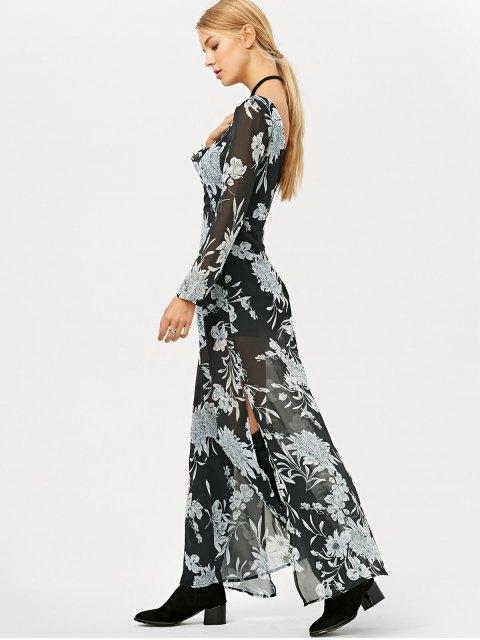 trendy High Slit Floral Print Maxi Dress - BLACK XL Mobile
