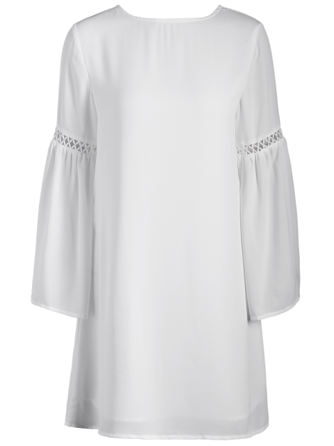 fashion Cut Out Long Flare Sleeve Swing Dress - WHITE XS Mobile