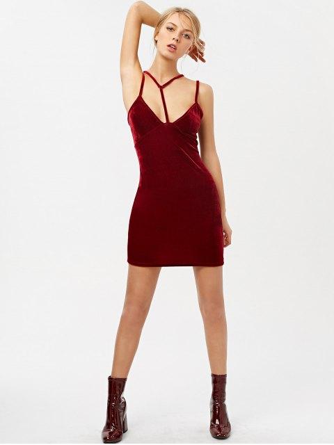 fancy Low Cut Velvet Strappy Dress - BURGUNDY XL Mobile