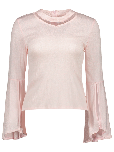 shop Bell Sleeve Choker Tee - PINK L Mobile