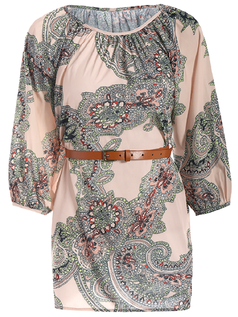 fancy Lantern Sleeve Belted Paisley Dress - APRICOT L Mobile