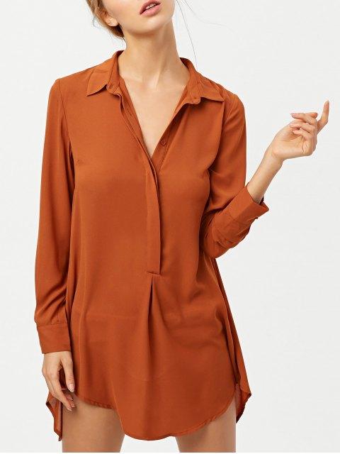 shop Self Tie Long Sleeve Shirt Dress - BROWN L Mobile