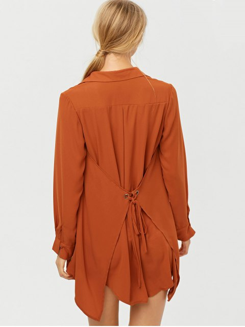 latest Self Tie Long Sleeve Shirt Dress - BROWN S Mobile