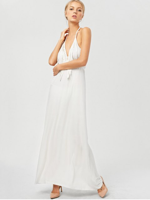 ladies Backless Halter Fringe Low Cut Maxi Dress - WHITE S Mobile