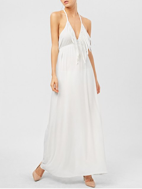 lady Backless Halter Fringe Low Cut Maxi Dress - WHITE XS Mobile
