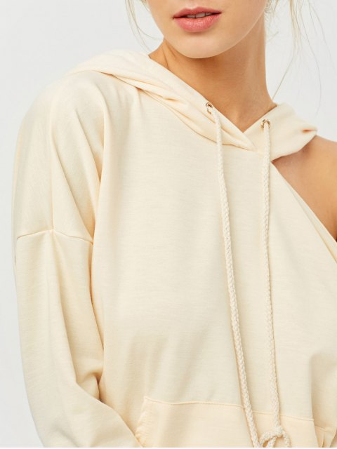 shop Oversized Cold Shoulder Hoodie - LIGHT APRICOT L Mobile