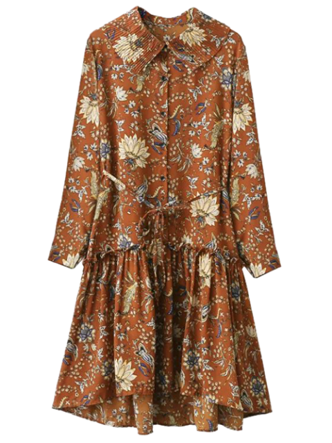 best Pleated Collar Printed Drop Waist Shirt Dress - BROWN ONE SIZE Mobile