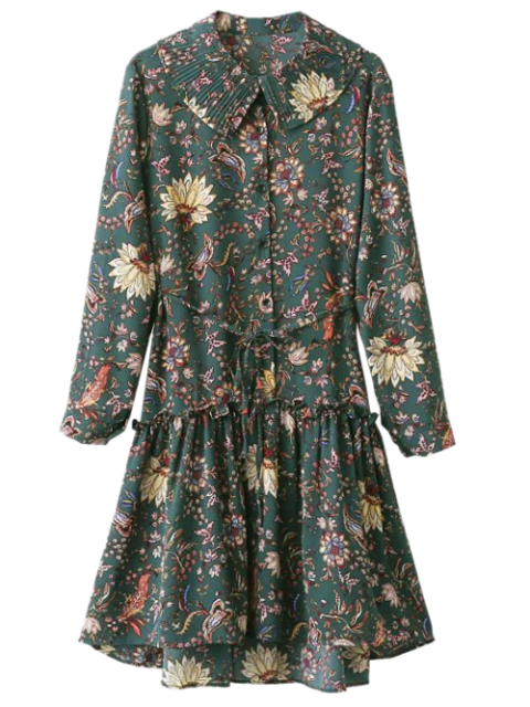 online Pleated Collar Printed Drop Waist Shirt Dress - ARMY GREEN ONE SIZE Mobile