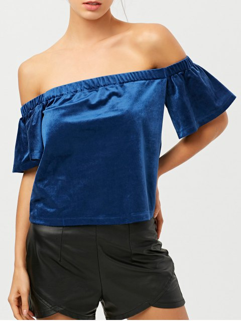 lady Off The Shoulder Velvet Loose T-Shirt - BLUE L Mobile