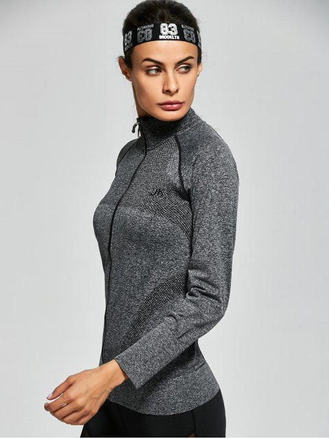 women's Quick Dry Zipper Work Out Running Jacket - GRAY L Mobile