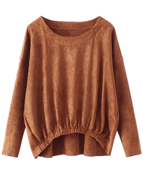 best Suede Elastic Hem T-Shirt - DEEP BROWN L Mobile