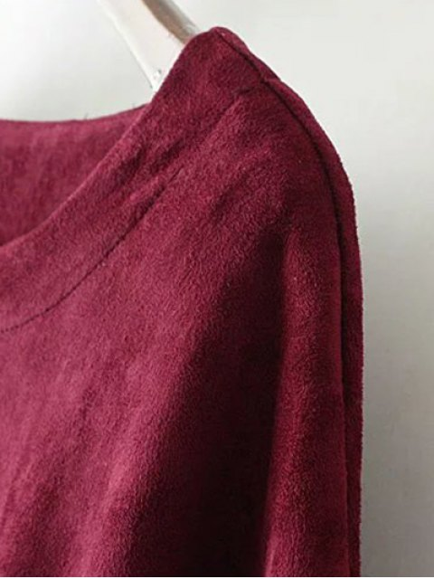 online Suede Elastic Hem T-Shirt - DEEP BROWN M Mobile