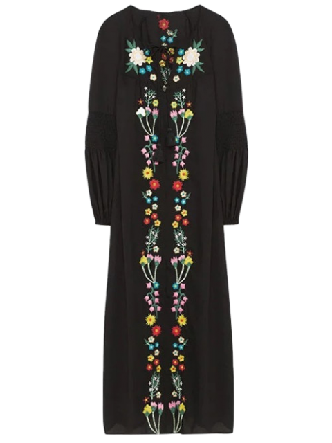 shops Floral Embroidered Lace Up Long Sleeve Dress - BLACK S Mobile