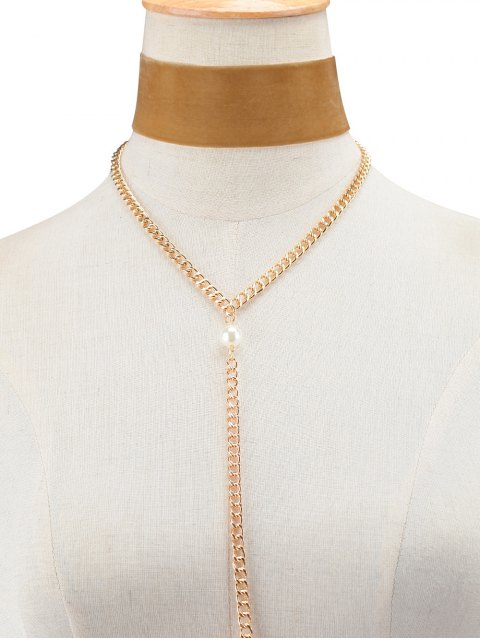 women's Fake Pearl Chain Velvet Layered Necklace - BROWN  Mobile