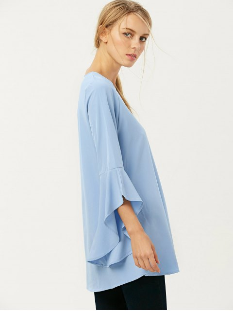 chic FItting Flare Sleeve Blouse - LIGHT BLUE XL Mobile