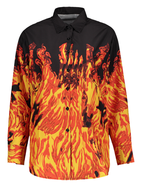best Oversized Fire Print Shirt - JACINTH L Mobile