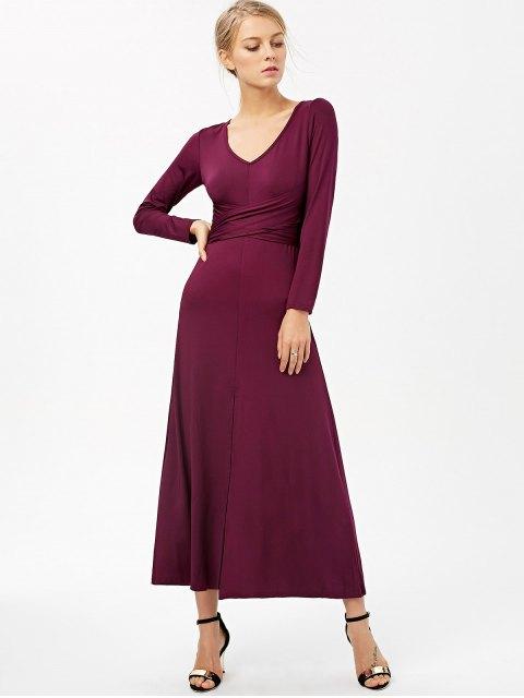 hot Belted High Slit Maxi Dress - PURPLISH RED M Mobile