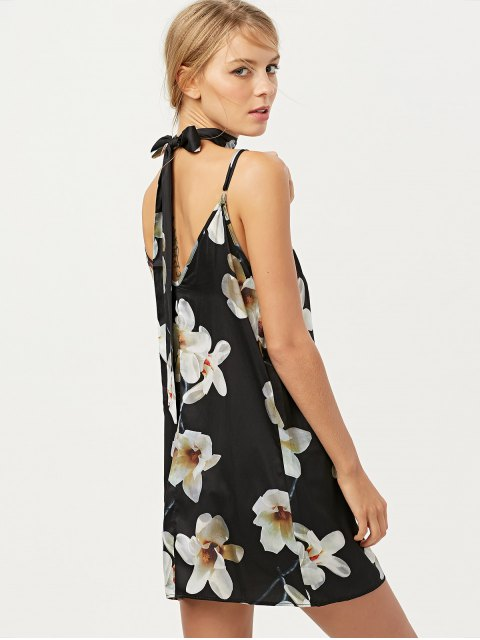 women Floral Mini Dress With Silk Choker - BLACK S Mobile