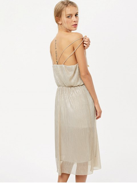 chic Shiny Midi Cami Dress - CHAMPAGNE S Mobile
