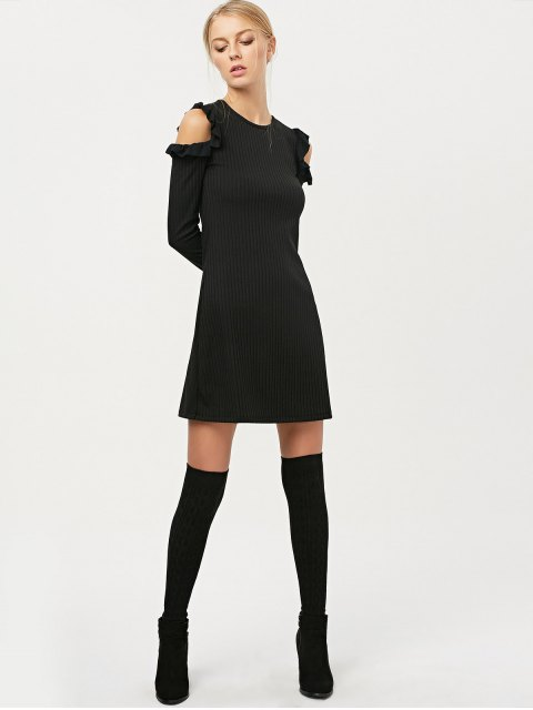 women's Long Sleeve Cold Shoulder A-Line Dress - BLACK M Mobile