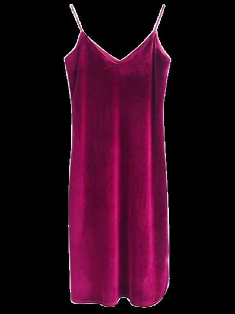 trendy Cami Velvet Midi Dress - WINE RED M Mobile