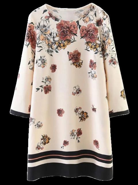 fashion Floral Pattern Shift Dress - LIGHT BEIGE M Mobile