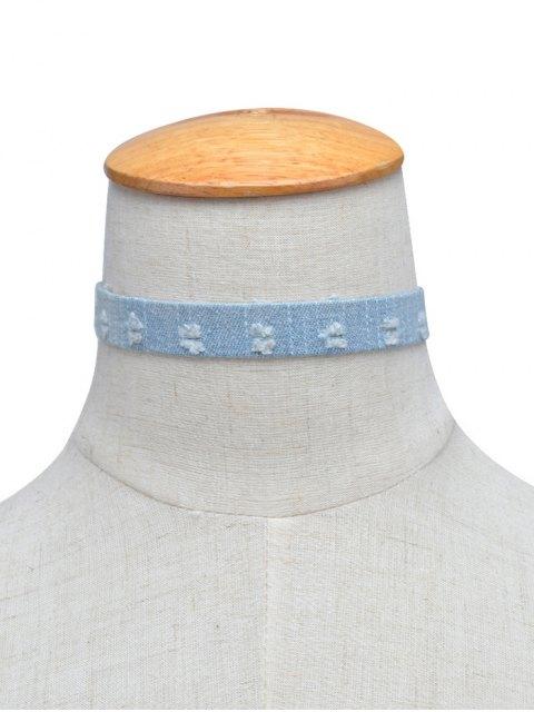 shops Denim Punk Choker Necklace - LIGHT BLUE  Mobile