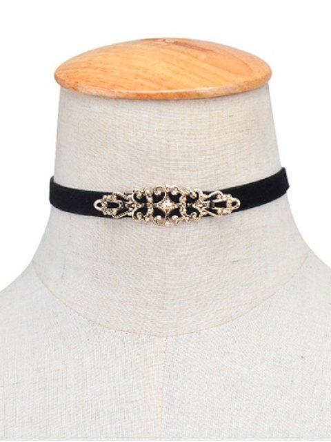 latest Hollowed Geometry Velvet Choker Necklace -   Mobile