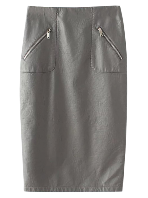 womens PU Leather Pencil Skirt - GRAY M Mobile