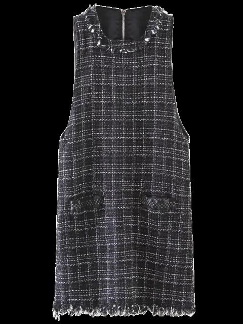 lady Rivet Sleeveless Frayed Hem Plaid Mini Dress - BLACK L Mobile