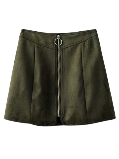 chic Suede Zippered Mini Skirt - BLACKISH GREEN S Mobile