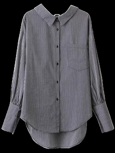 online V Back Button Up Striped Shirt - STRIPE S Mobile