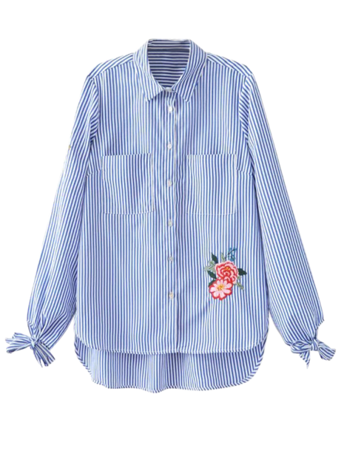 lady Floral Embroidered Tied Striped Shirt - STRIPE M Mobile
