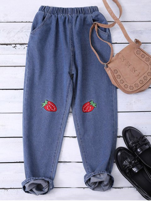 shop Embroidered Heram Jeans - BLUE XL Mobile