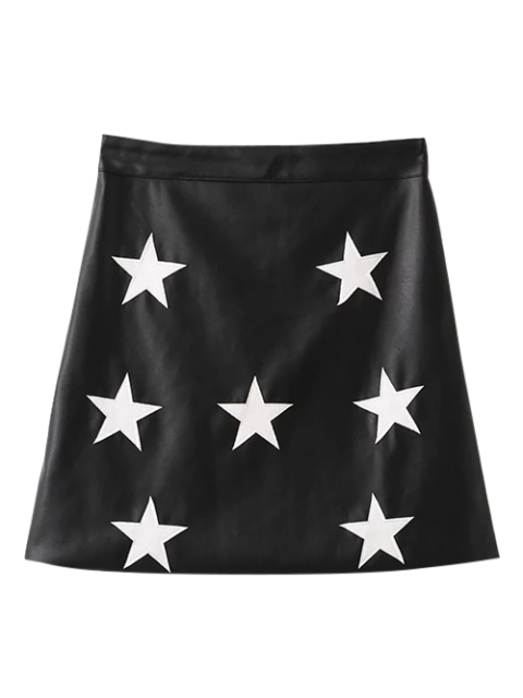 fashion PU Leather Star A-Line Skirt - BLACK S Mobile