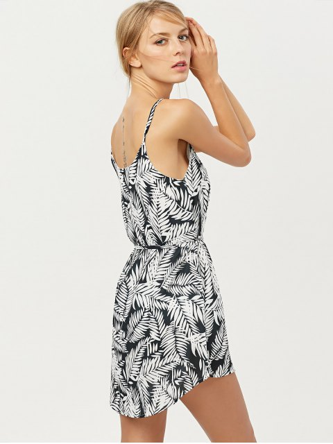 affordable Tropical Print High Low Cami Dress - FLORAL M Mobile