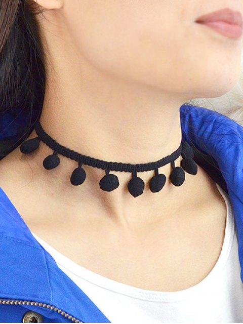trendy Pom Pom Braided Choker - BLACK  Mobile