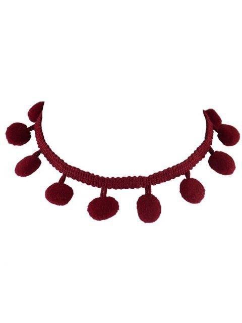 fashion Pom Pom Braided Choker - RED  Mobile