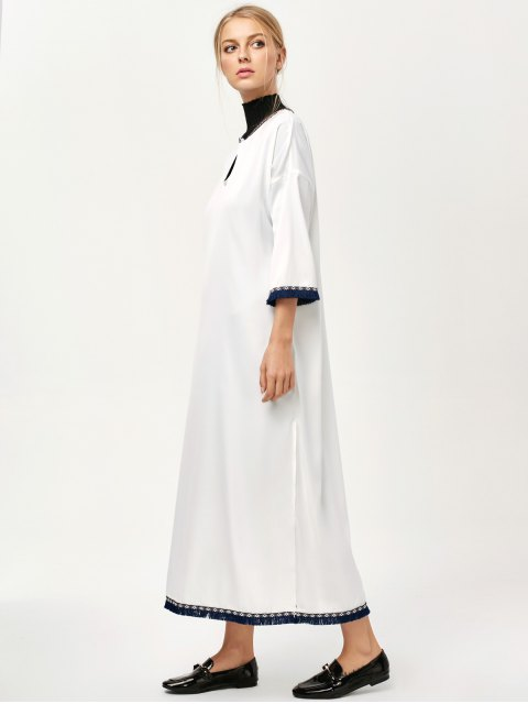 new Side Slit Loose Maxi Dress - WHITE S Mobile