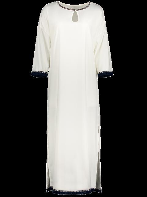best Side Slit Loose Maxi Dress - WHITE L Mobile